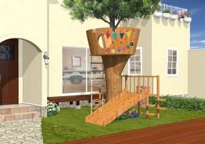 三世帯住宅のグラディーレ中庭にツリーハウスを