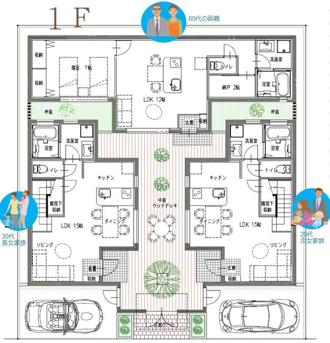 三世帯住宅四世帯住宅間取りプランCファミリー2世帯で大家族