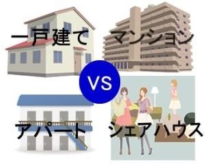 マンションや一戸建てやシェアハウスの入居人数比較